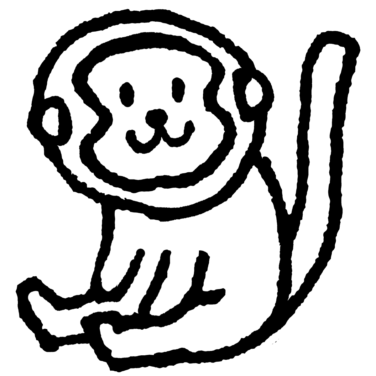 座る猿のイラスト / Sitting monkey Illustration