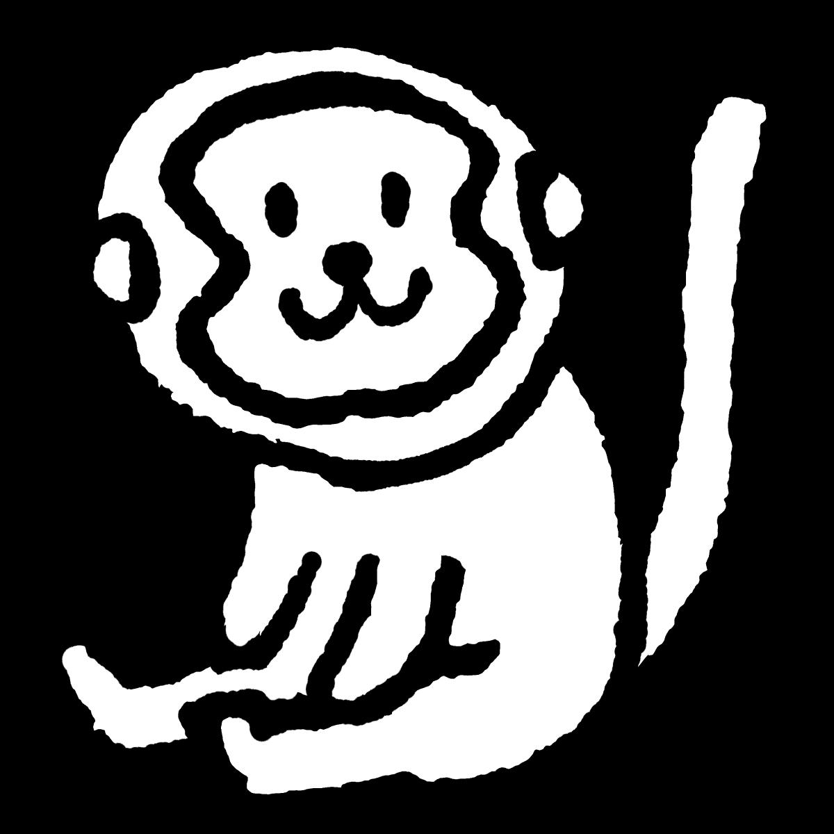 座る猿のイラスト Sitting Monkey てがきですのb かわいい ゆるい無料イラスト