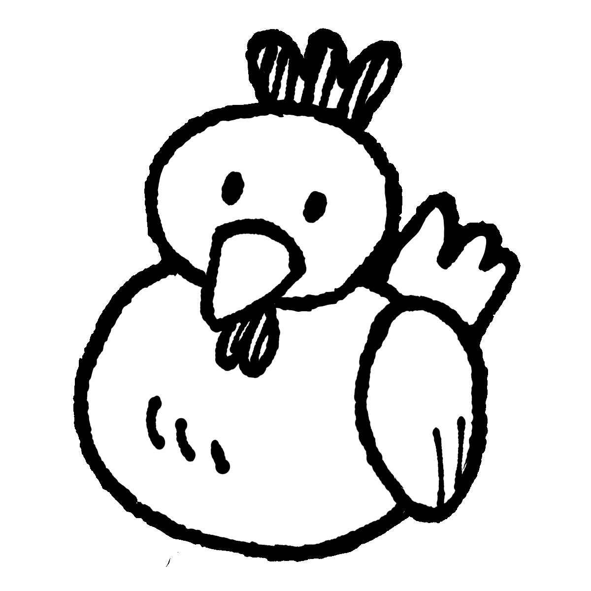 座る鶏のイラスト Sitting chicken  Illustration