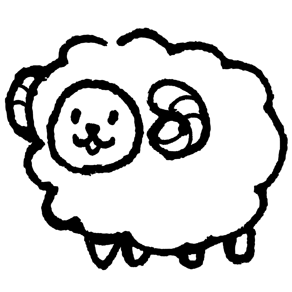 立つ羊のイラスト / Standing sheep Illustration