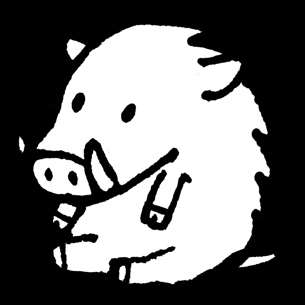 座るイノシシのイラスト / Boar sitting on Illustration