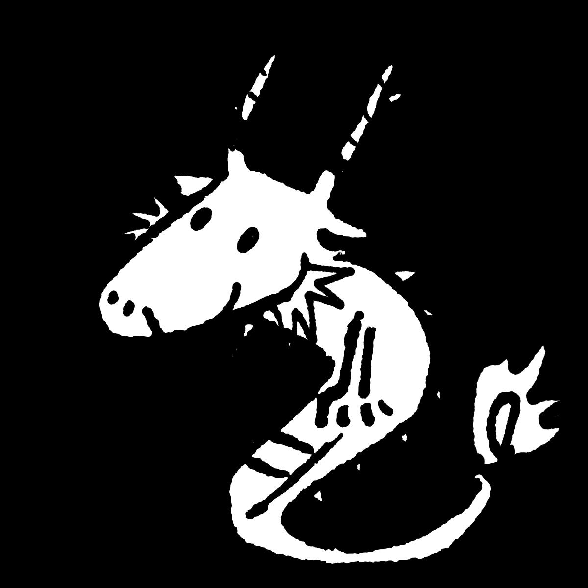 座る竜のイラスト Sitting dragon  Illustration