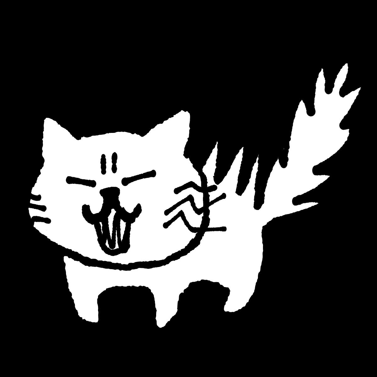 怒る猫のイラスト / Angry cat Illustration