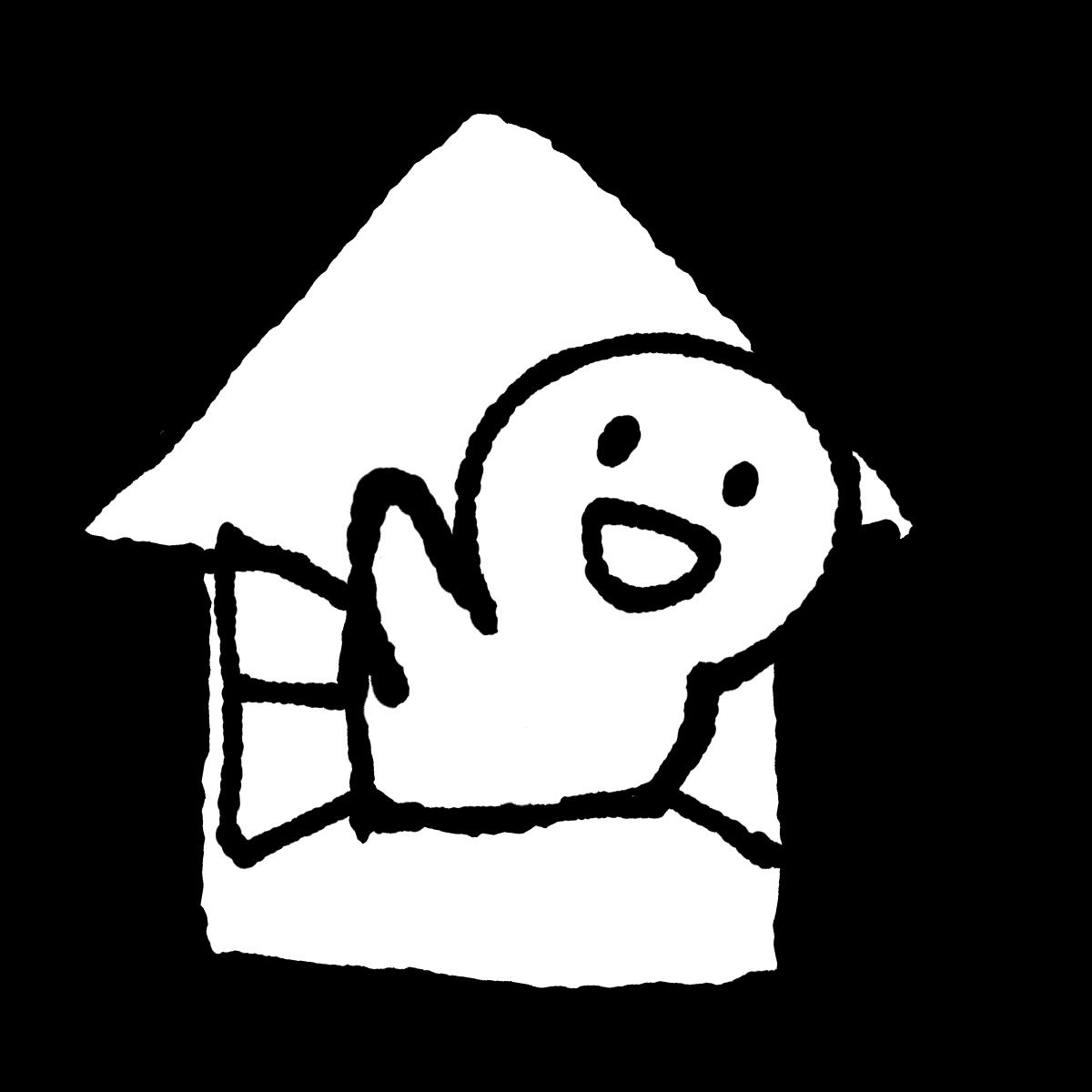 家から顔を出すのイラスト / Come out of the house Illustration