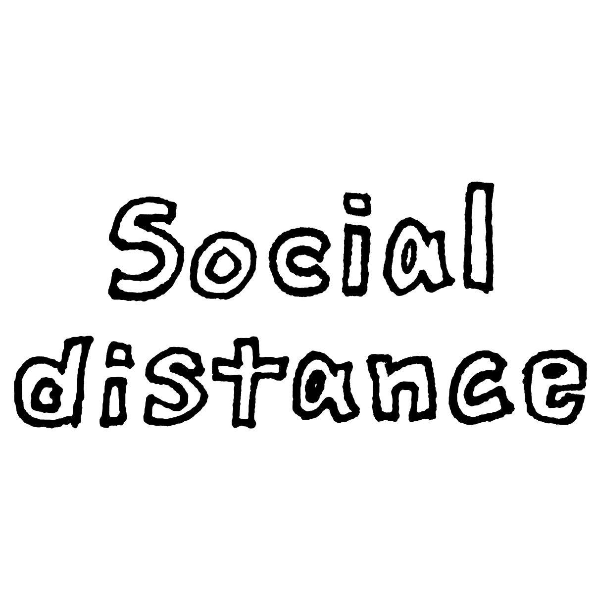 Social distance 文字(3種)のイラスト / Social distance character (3 types) Illustration