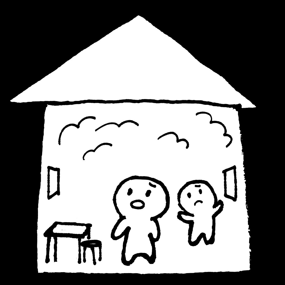 空気のこもる家(密室・三密)のイラスト / A house filled with air Illustration