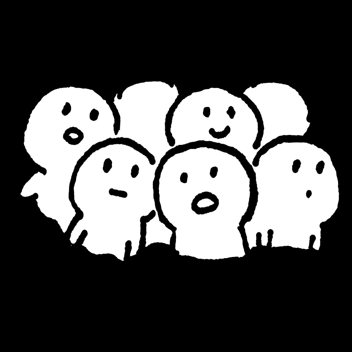 密集する(三密)のイラスト / Condense Illustration
