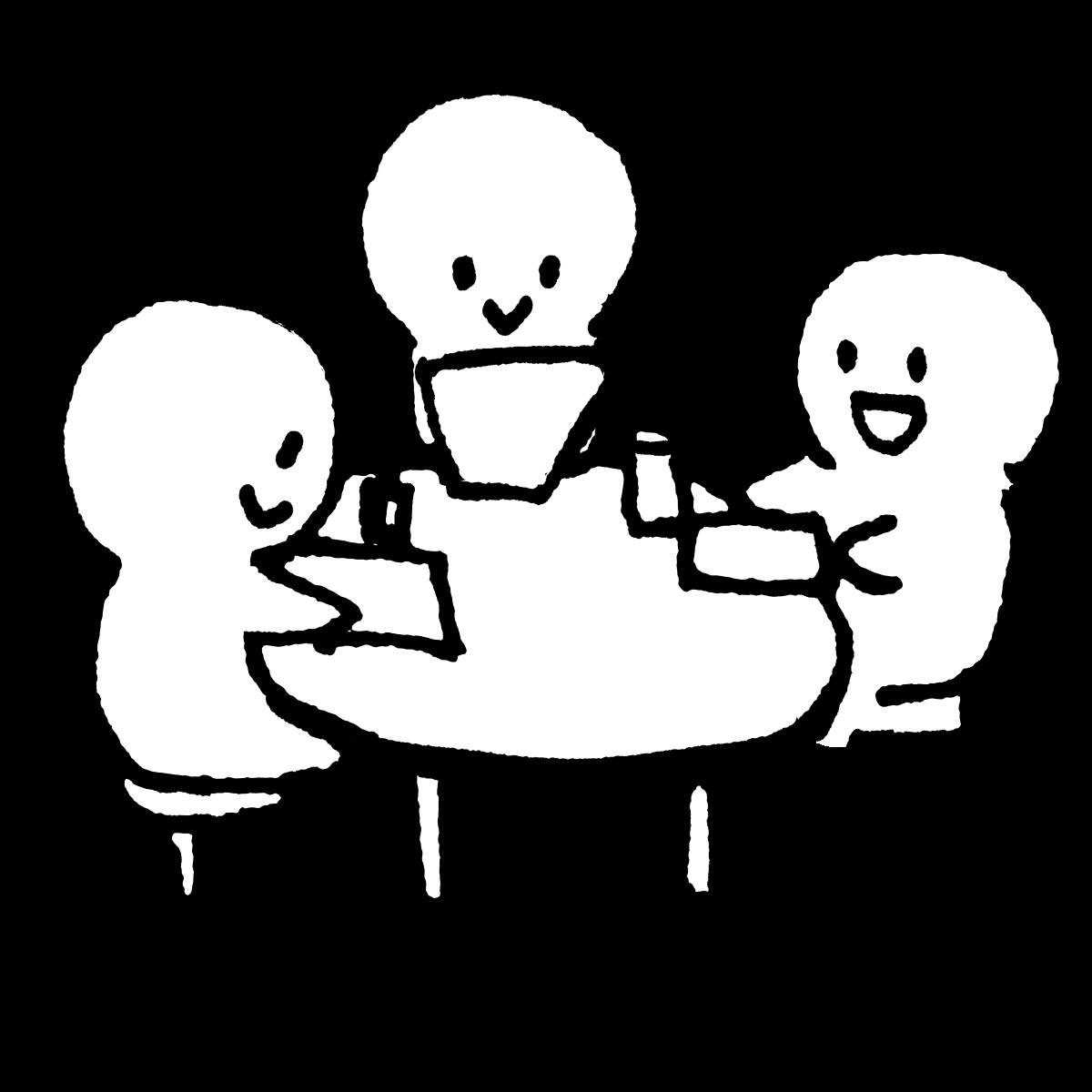 密接して話す(三密)のイラスト Speak closely  Illustration