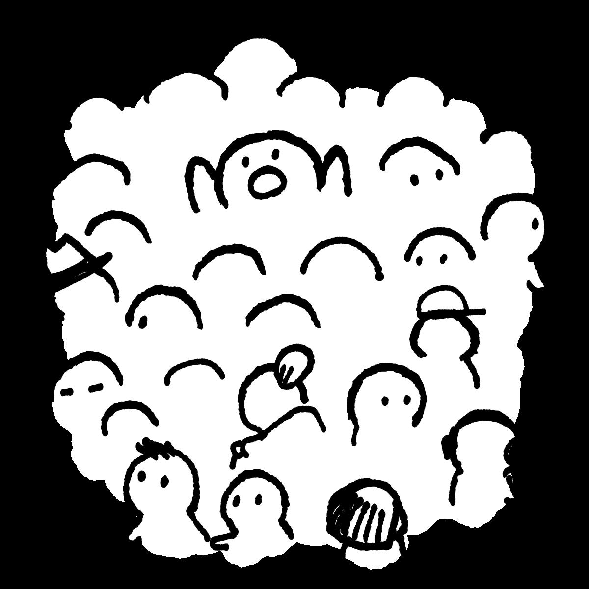 群衆(密集・三密)のイラスト / Crowds (dense) Illustration