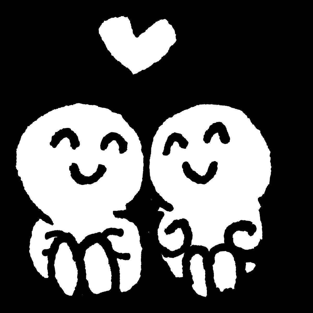 座っているカップルのイラスト / Seated couple Illustration