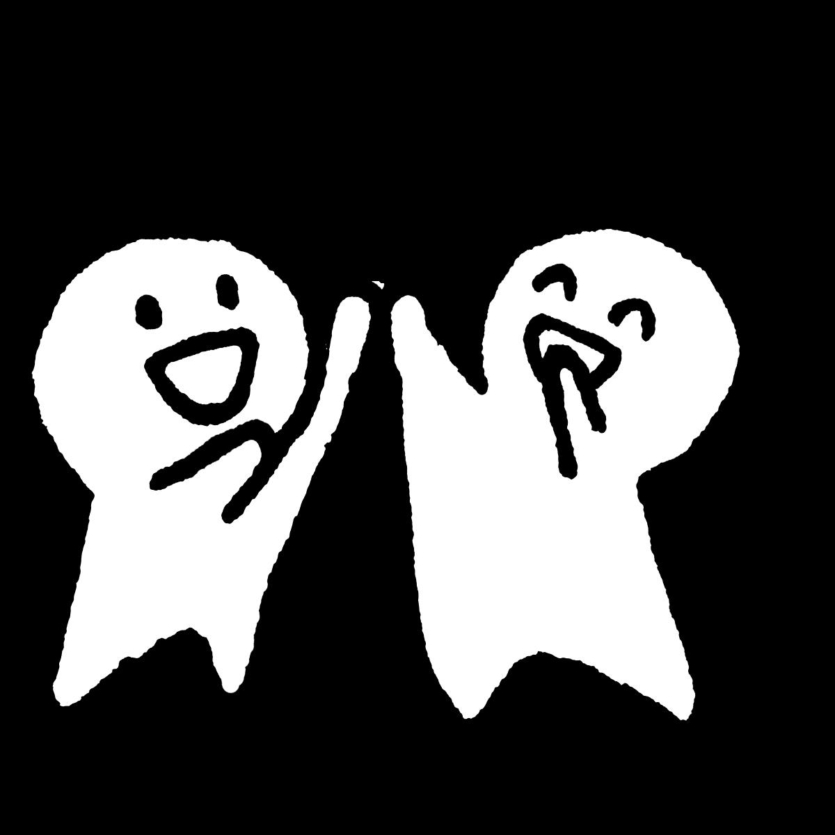 両手を上げハイタッチのイラスト / High five with both hands Illustration