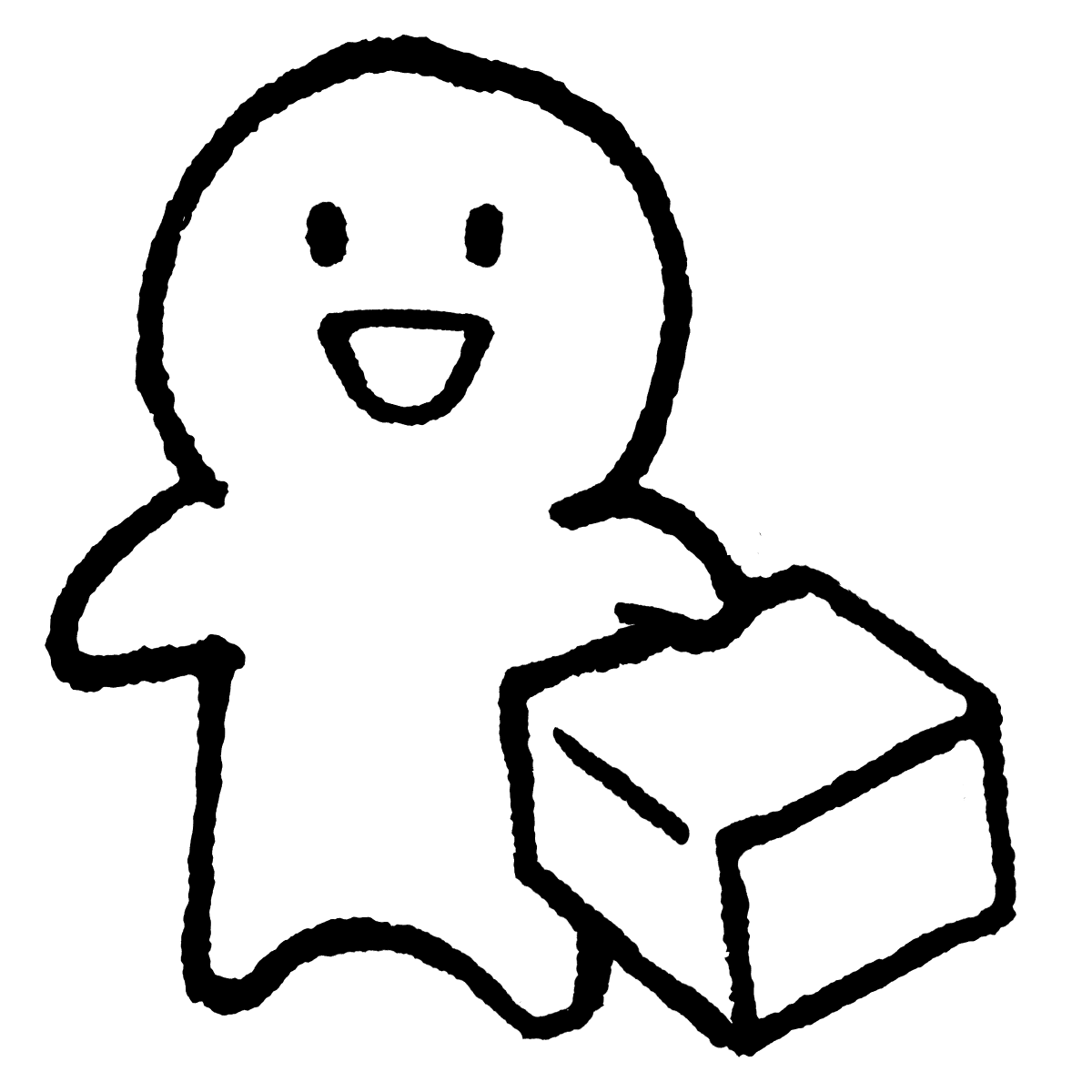 箱を片手に持つのイラスト / Hold a box in one hand Illustration
