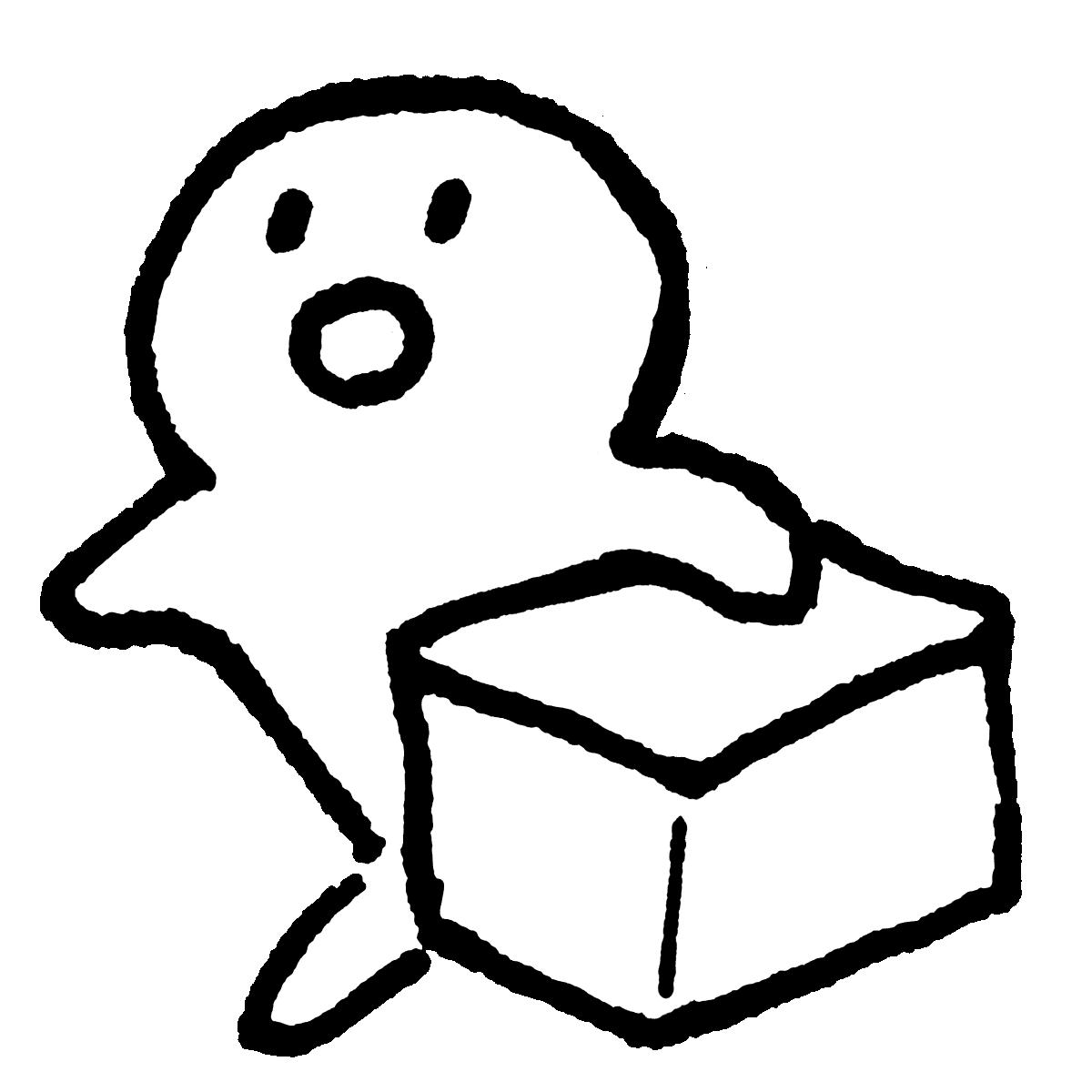 箱を片手に走る(2種)のイラスト / Run (2 types) with a box in one hand Illustration