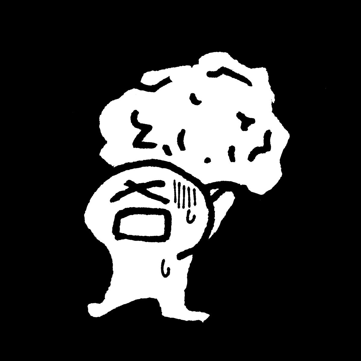 岩を持ち上げて震えるのイラスト Shake with a rock  Illustration