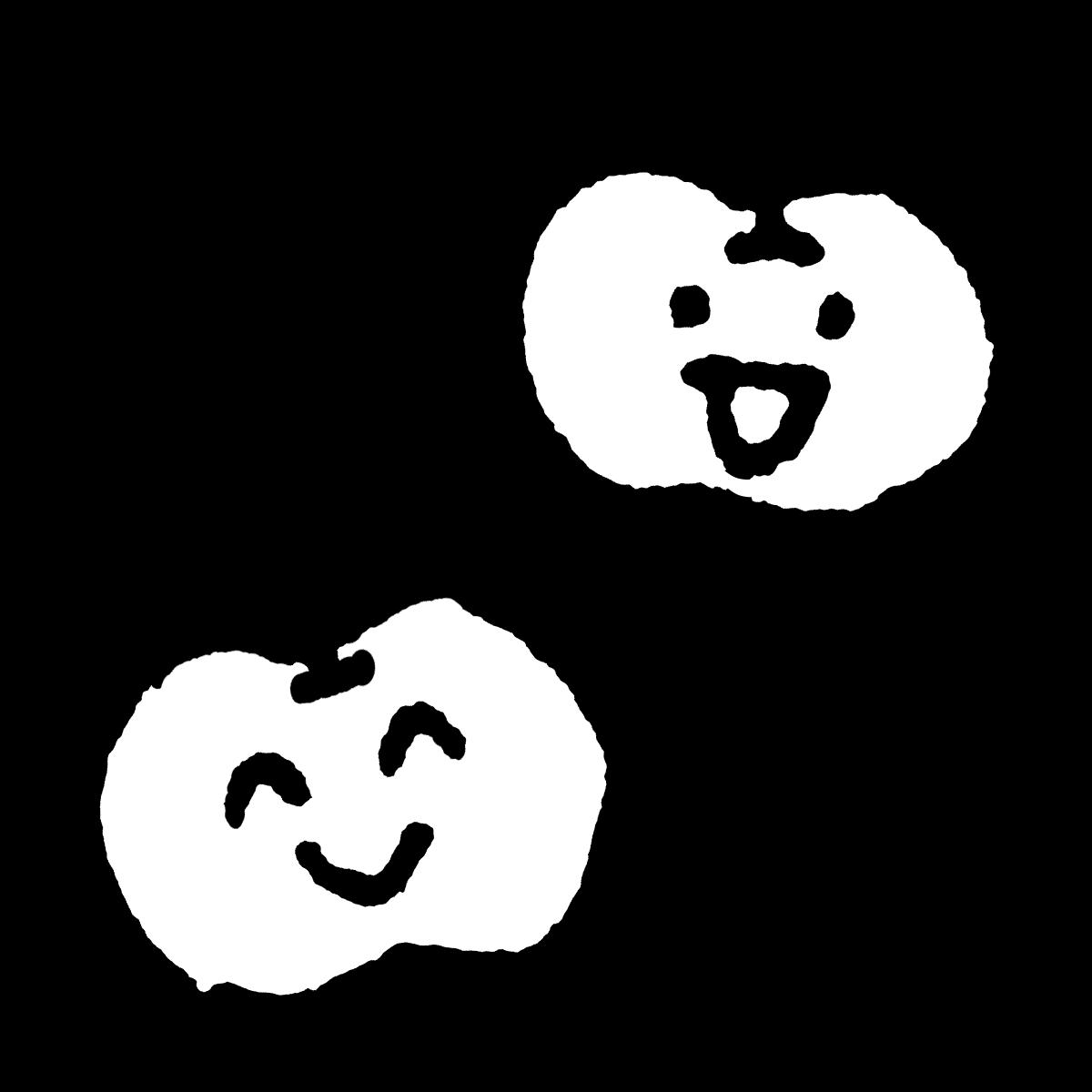りんご(顔つき)のイラスト / Apple (countenance) Illustration