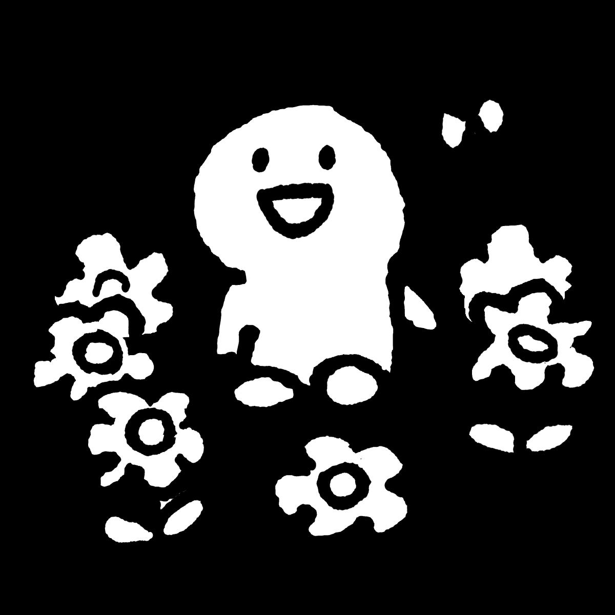 花に囲まれてのイラスト / Surrounded by flowers Illustration