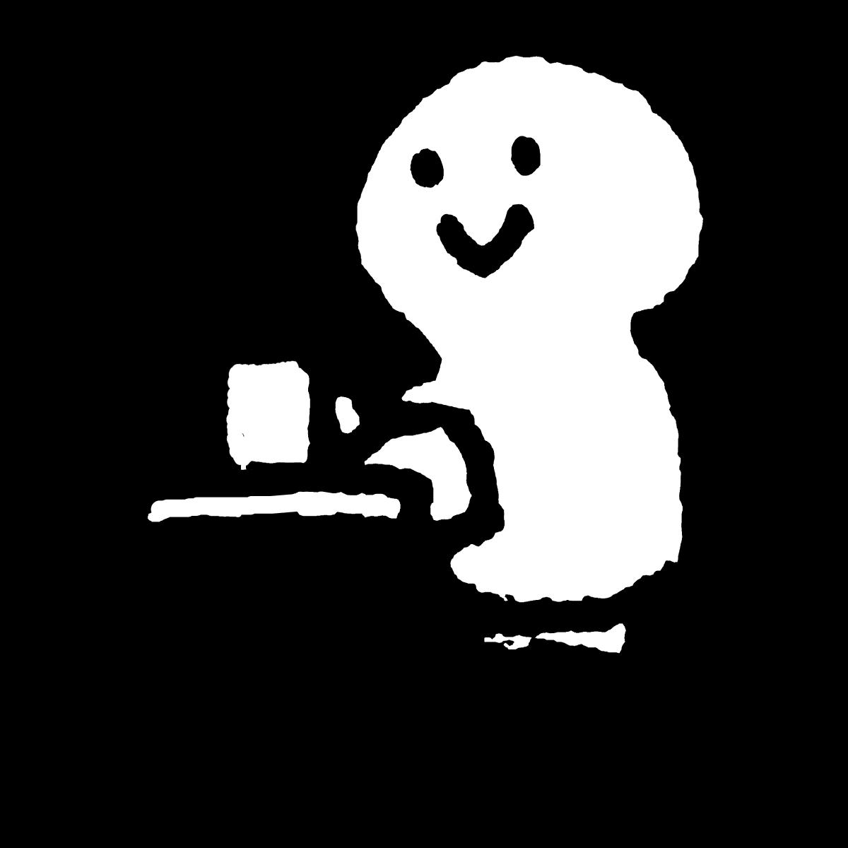 カフェでドリンクを飲む(湯気なし有り)のイラスト / Drinking at a cafe (no steam) Illustration