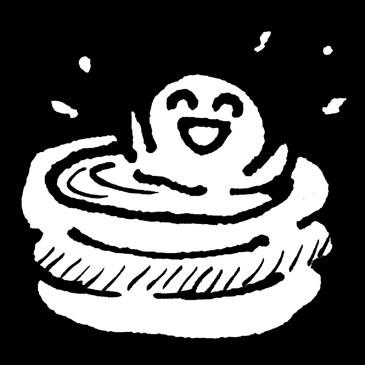 ビニールプールでひとり遊びのイラスト / The vinyl pool is fun. Illustration