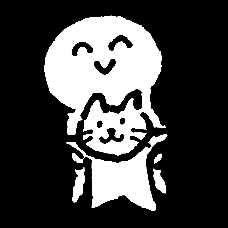 猫と一緒のイラスト / With a cat Illustration