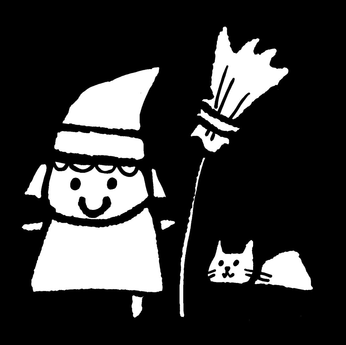 魔女と猫のイラスト / The Witch and the Cat Illustration