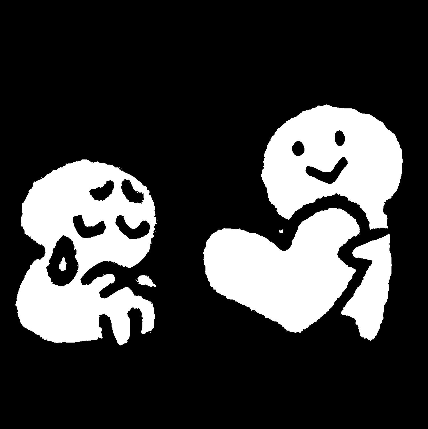 座って泣いている人にハートを渡すのイラスト / Give a heart Illustration