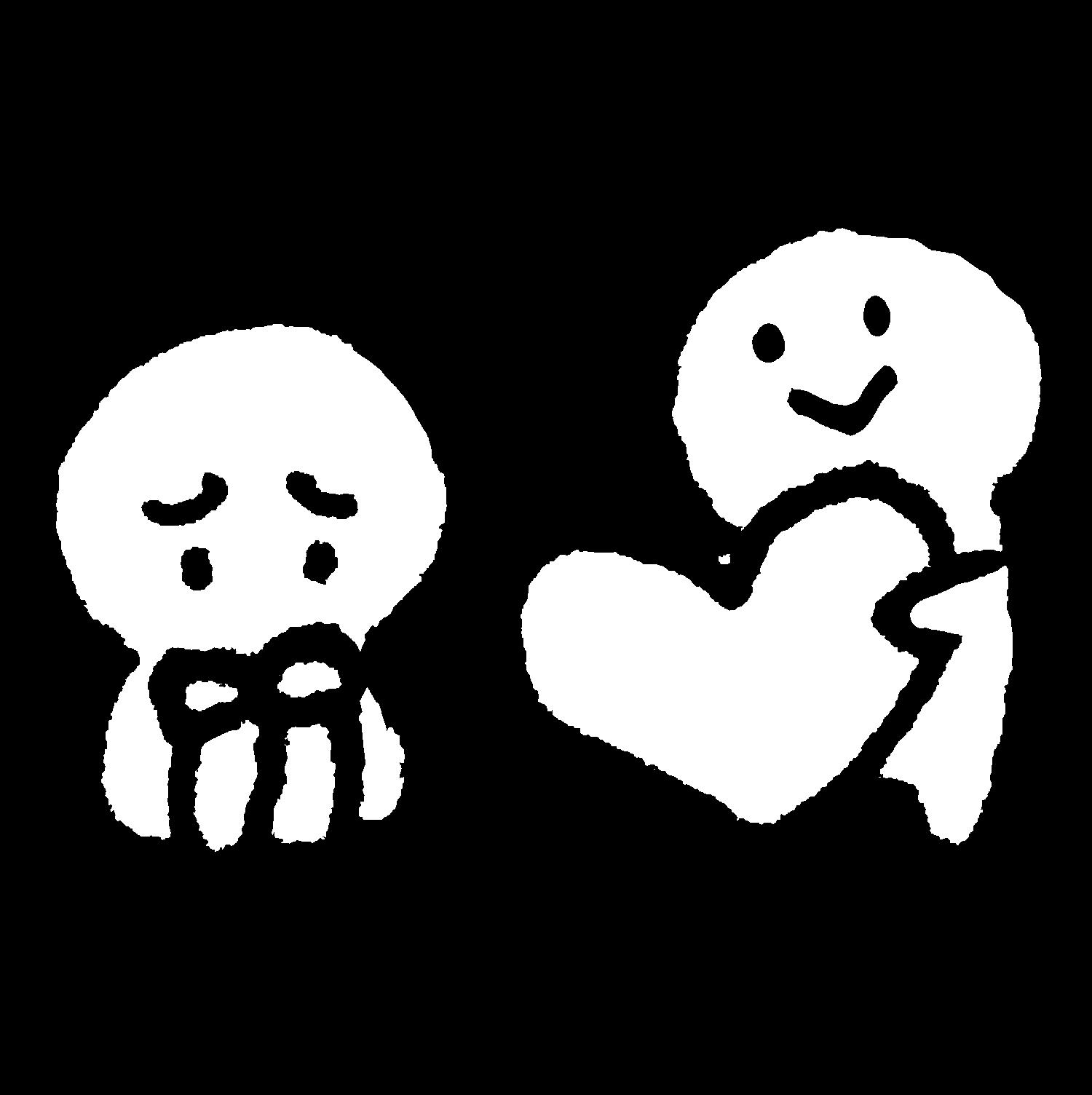 座って落ち込む人にハートを渡すのイラスト / Give a heart Illustration