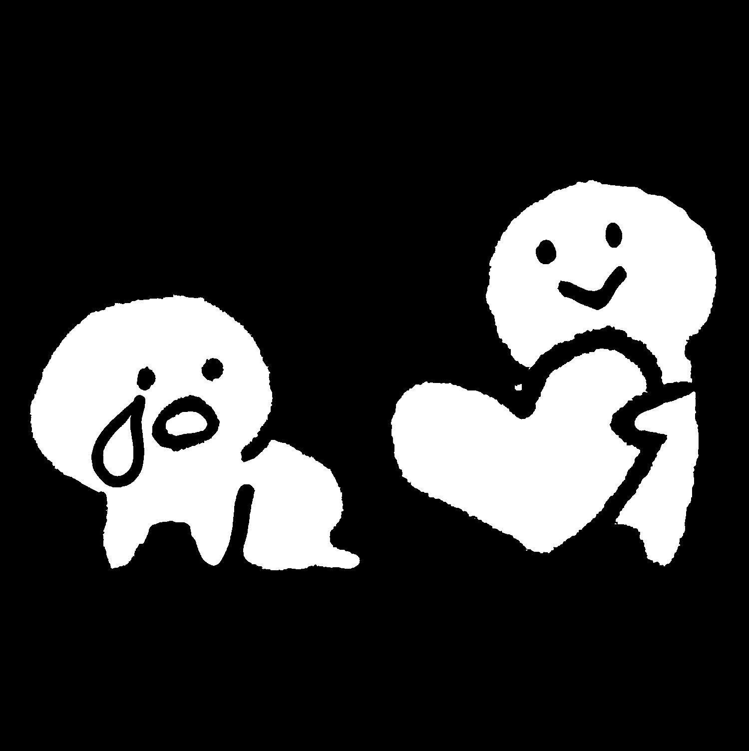 倒れて泣く人にハートを渡すのイラスト / Give a heart Illustration
