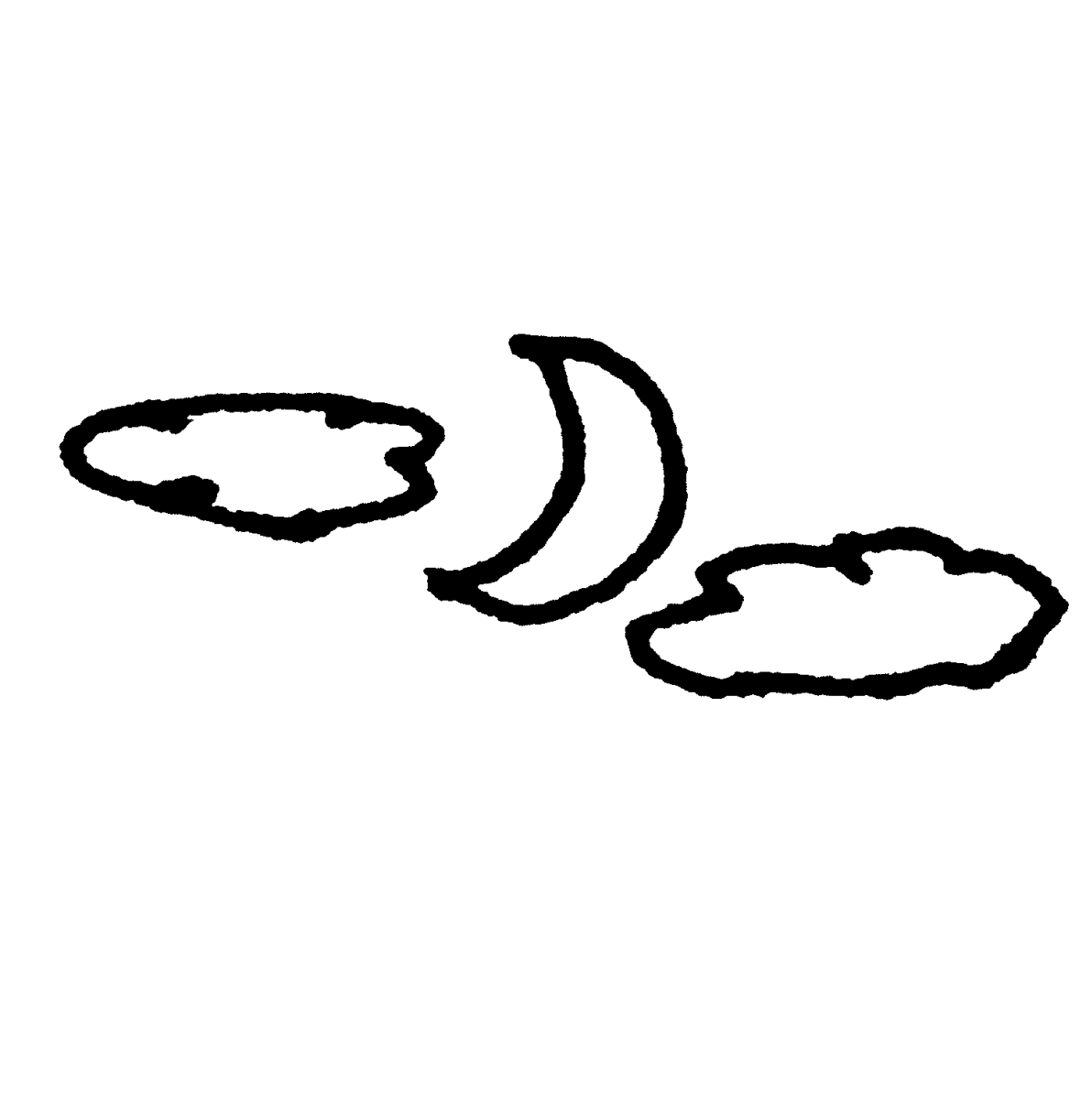 月と雲のイラスト / Moon and Clouds Illustration