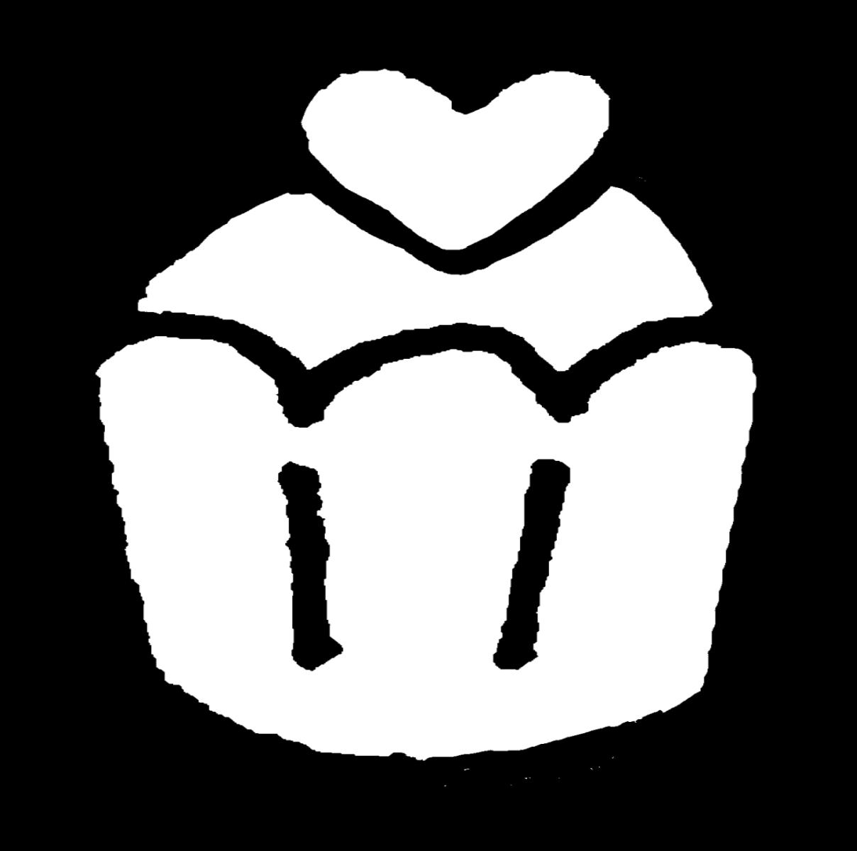 ハートのせカップケーキ(2種)のイラスト / Cupcake with a heart Illustration