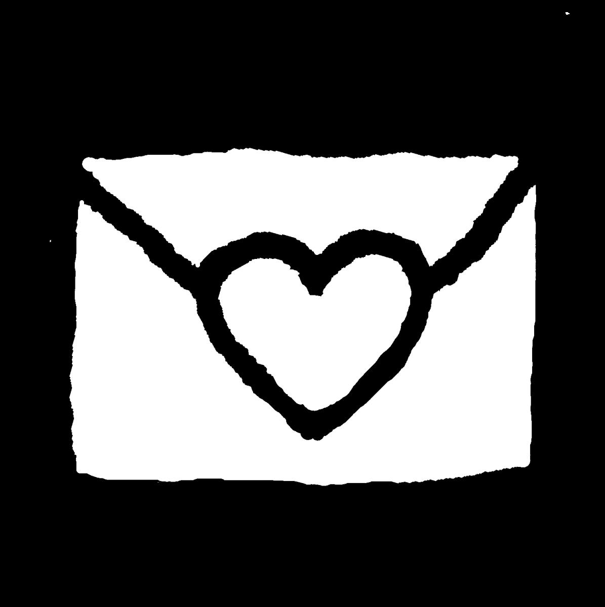 ハートのついた手紙封筒のイラスト / Letter envelope with a heart Illustration