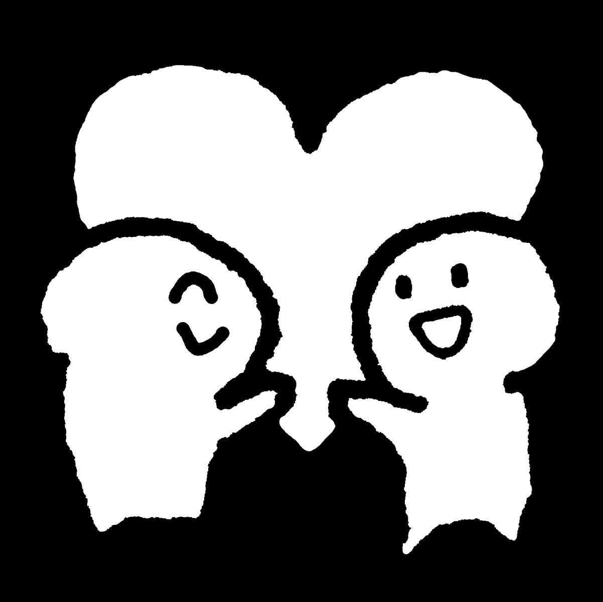ハートを二人で持つのイラスト / We both have hearts. Illustration