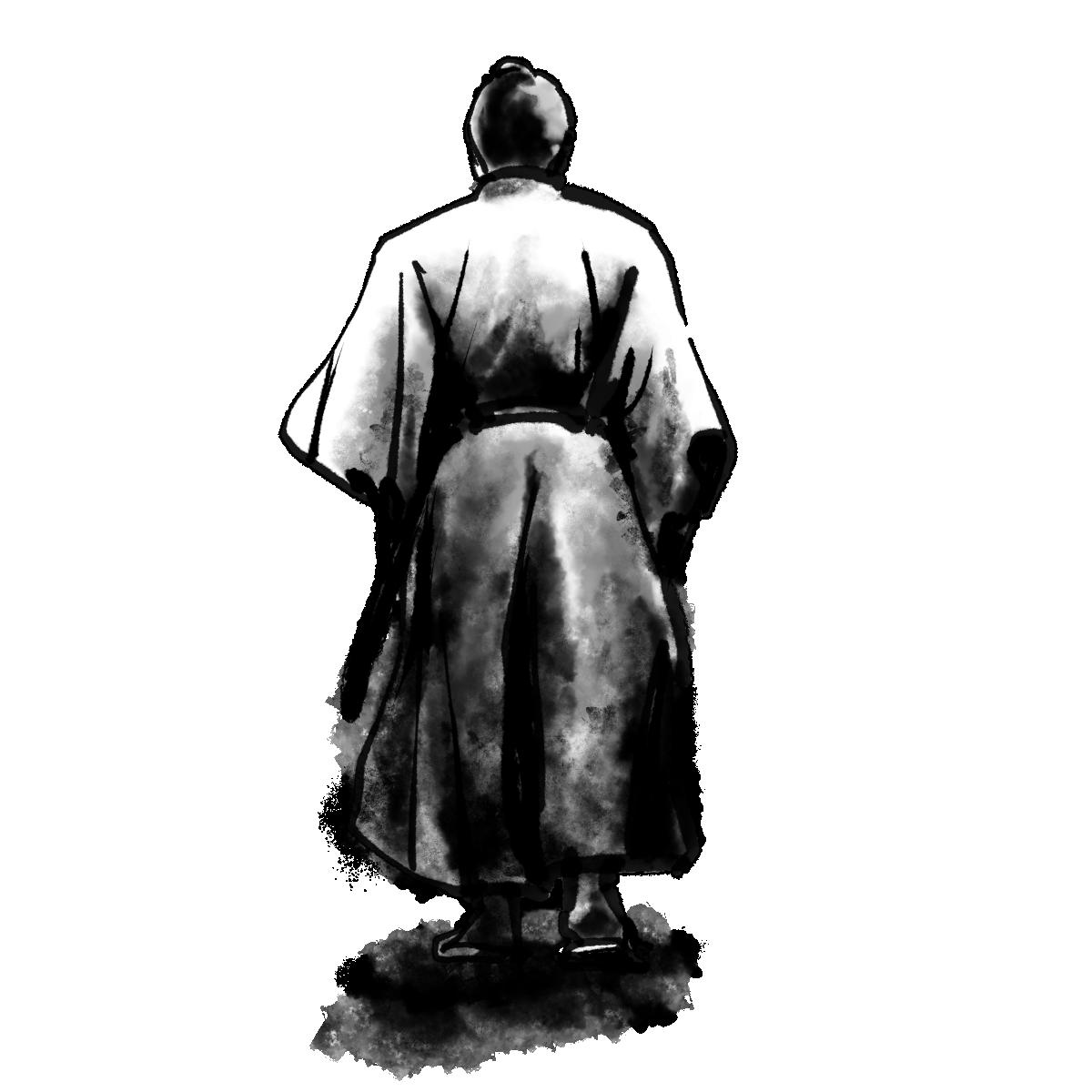 背中を向けた侍のイラスト / Samurai with their backs to the world Illustration