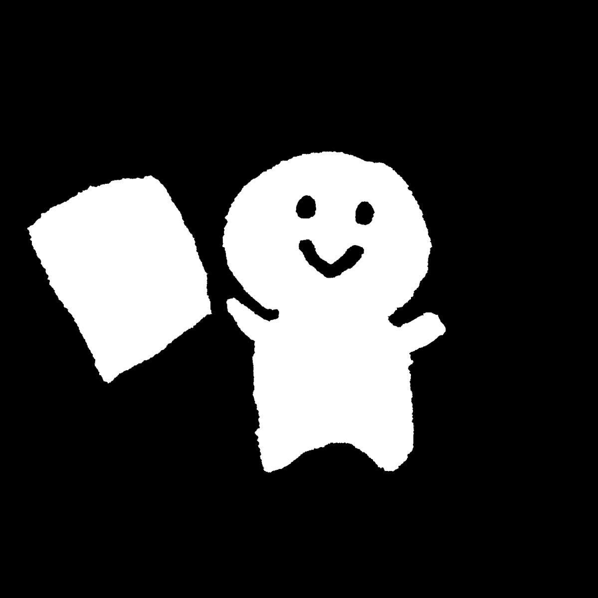 ハサミと紙を持つのイラスト / Hold scissors and paper Illustration
