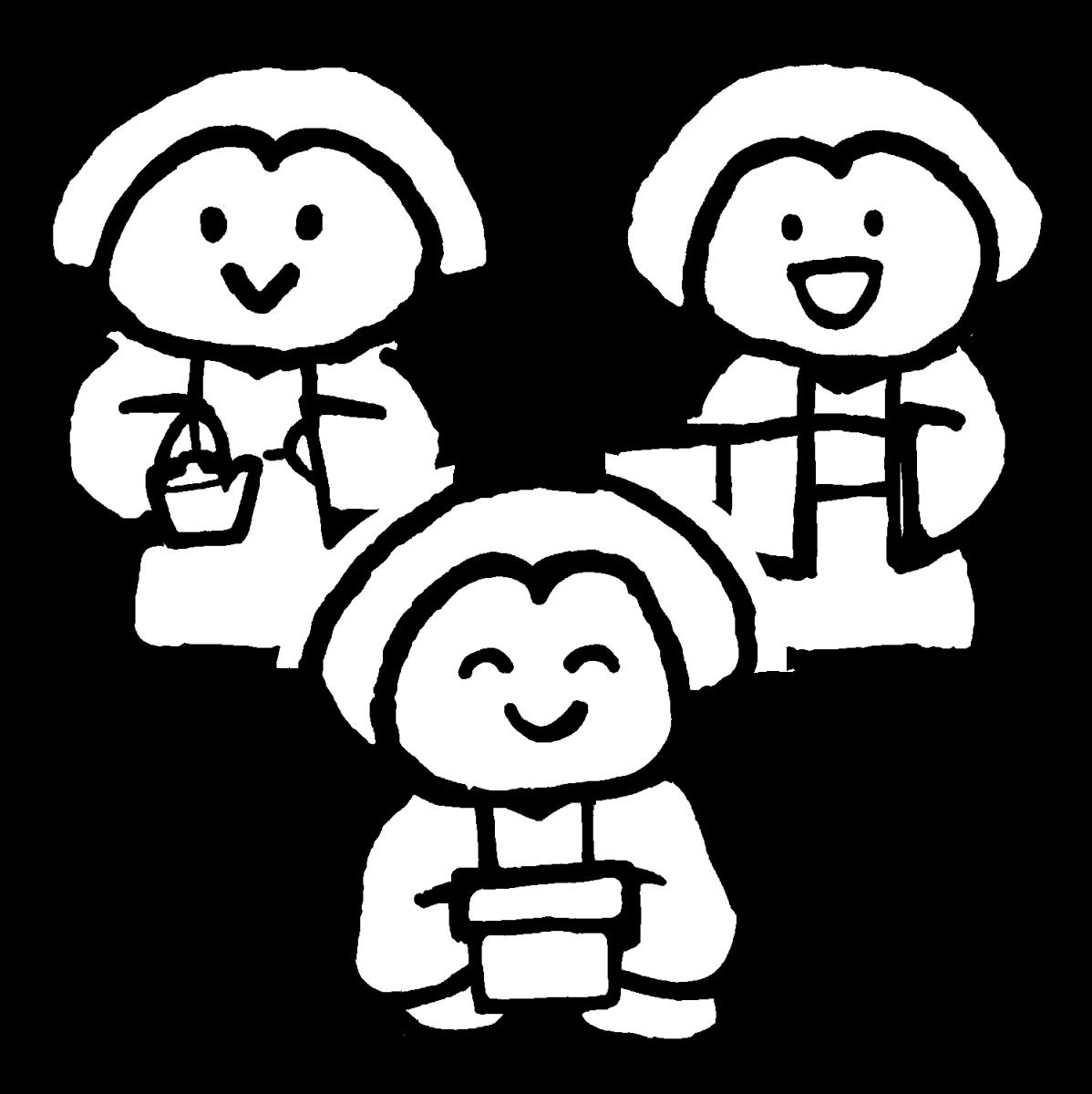 三人官女(ひな人形/バラ有)のイラスト / Sannin-kanjyo (Doll for Girls' Festival/individual) Illustration