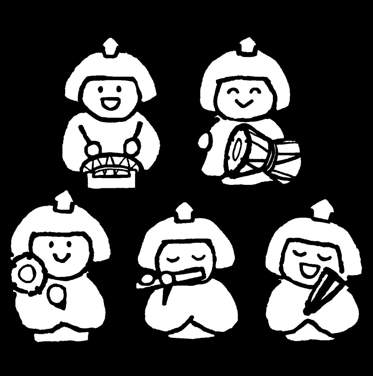 五人囃子(ひな人形/バラ有)のイラスト / Gonin-bayashi (Doll for Girls' Festival/individual) Illustration