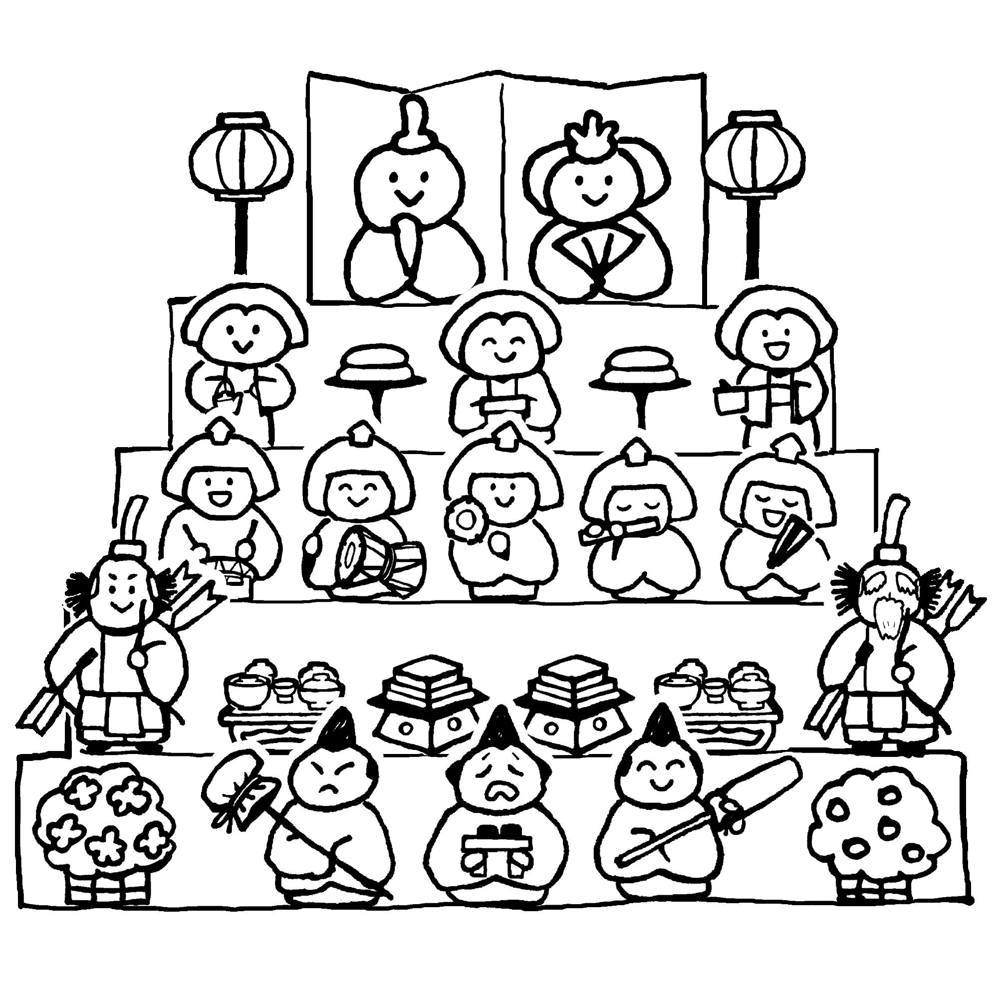ひな壇(五段)のイラスト / Hina-dan (five-tiered) Illustration