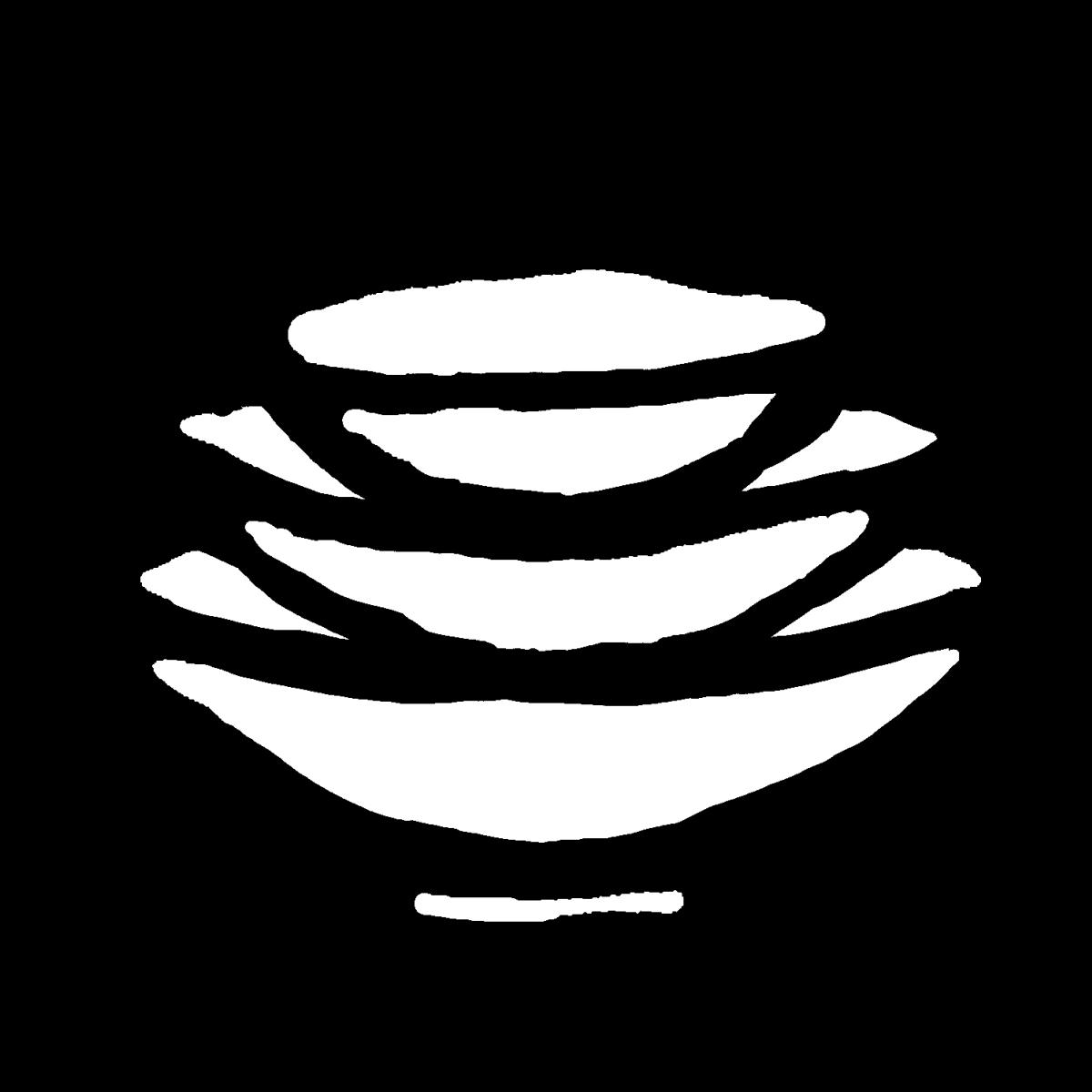 重なった盃(さかずき)皿のイラスト / Stacked plates / cups Illustration