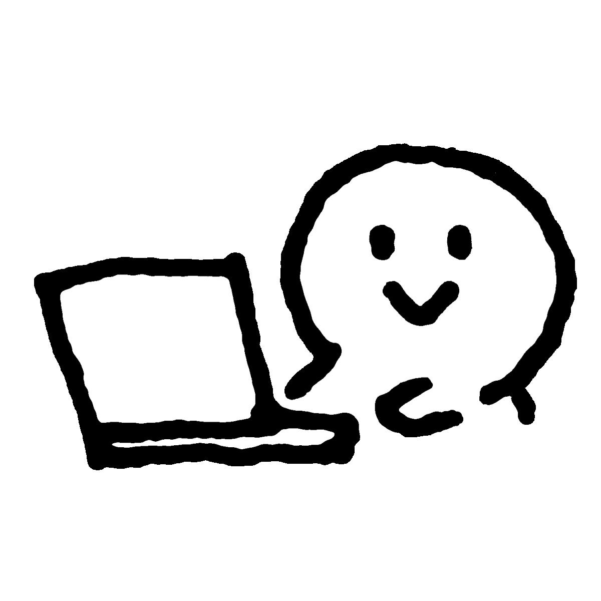 ノートパソコンを触るのイラスト / Operate a laptop Illustration
