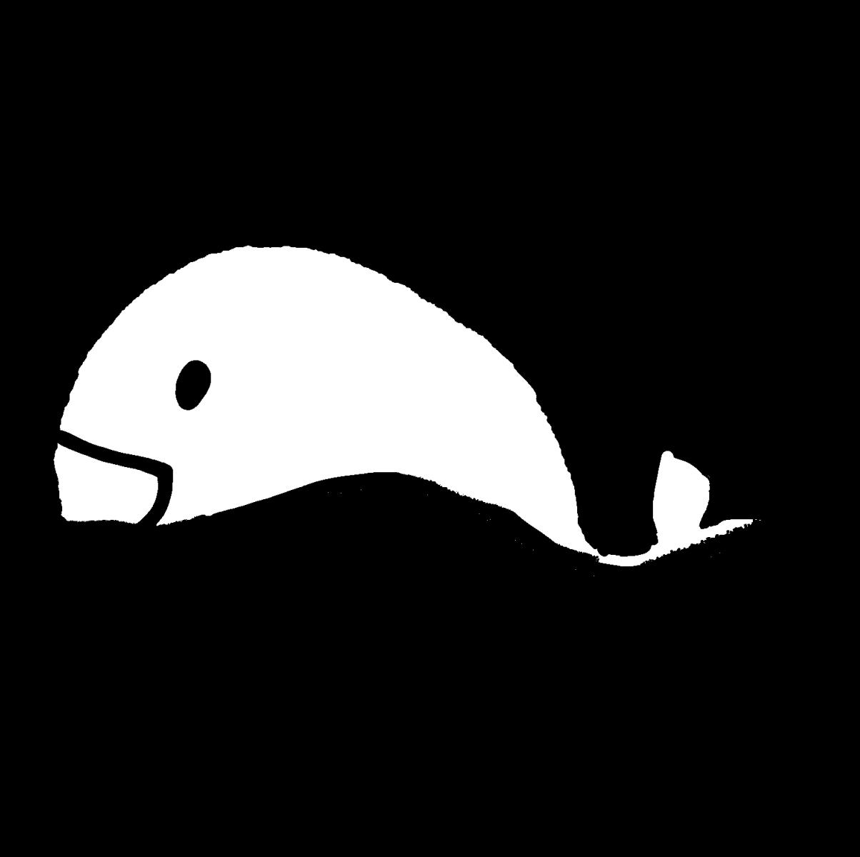海にうかぶクジラのイラスト / Whales in the sea Illustration