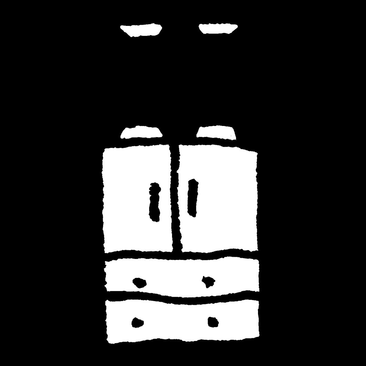 つっぱりで固定されたタンスのイラスト / Fixed wardrobe Illustration