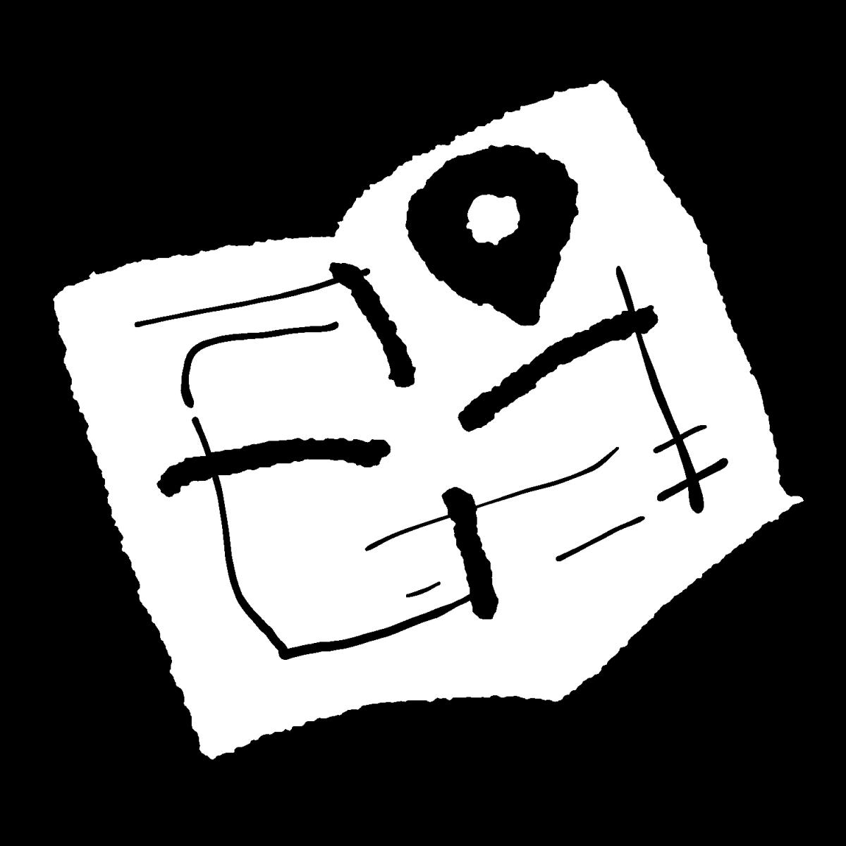 開いた地図のイラスト / Open Map Illustration