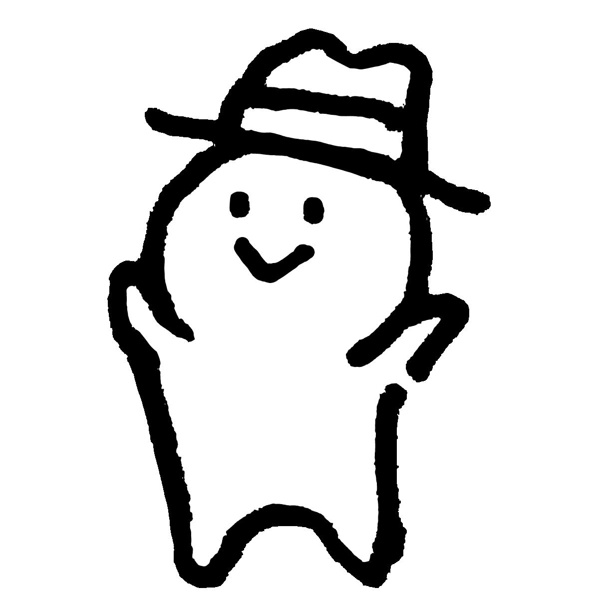 ハット帽子をかぶる人のイラスト / Person wearing a hat Illustration