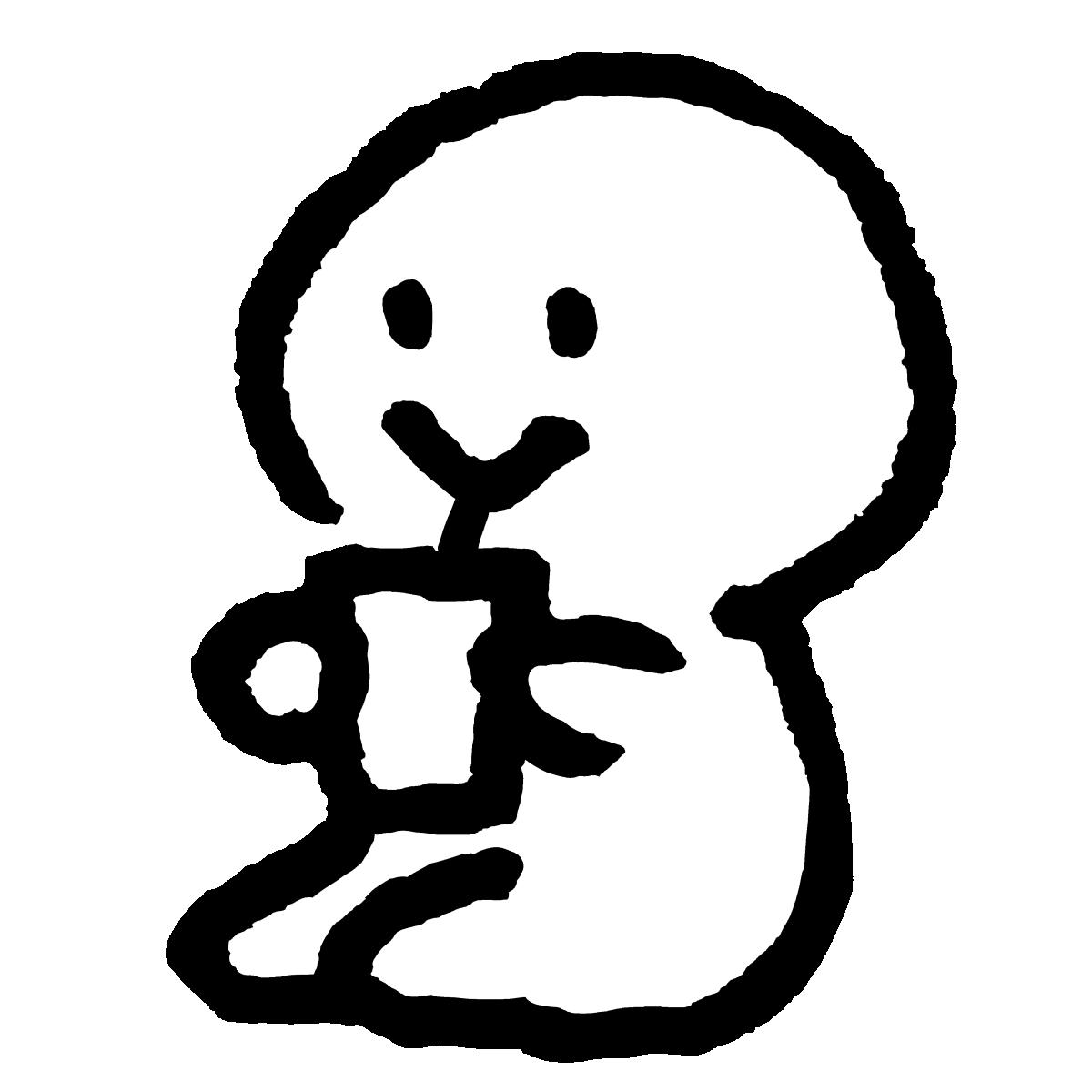 座ってストローでドリンクを飲むのイラスト / Sit and have a drink with a straw Illustration