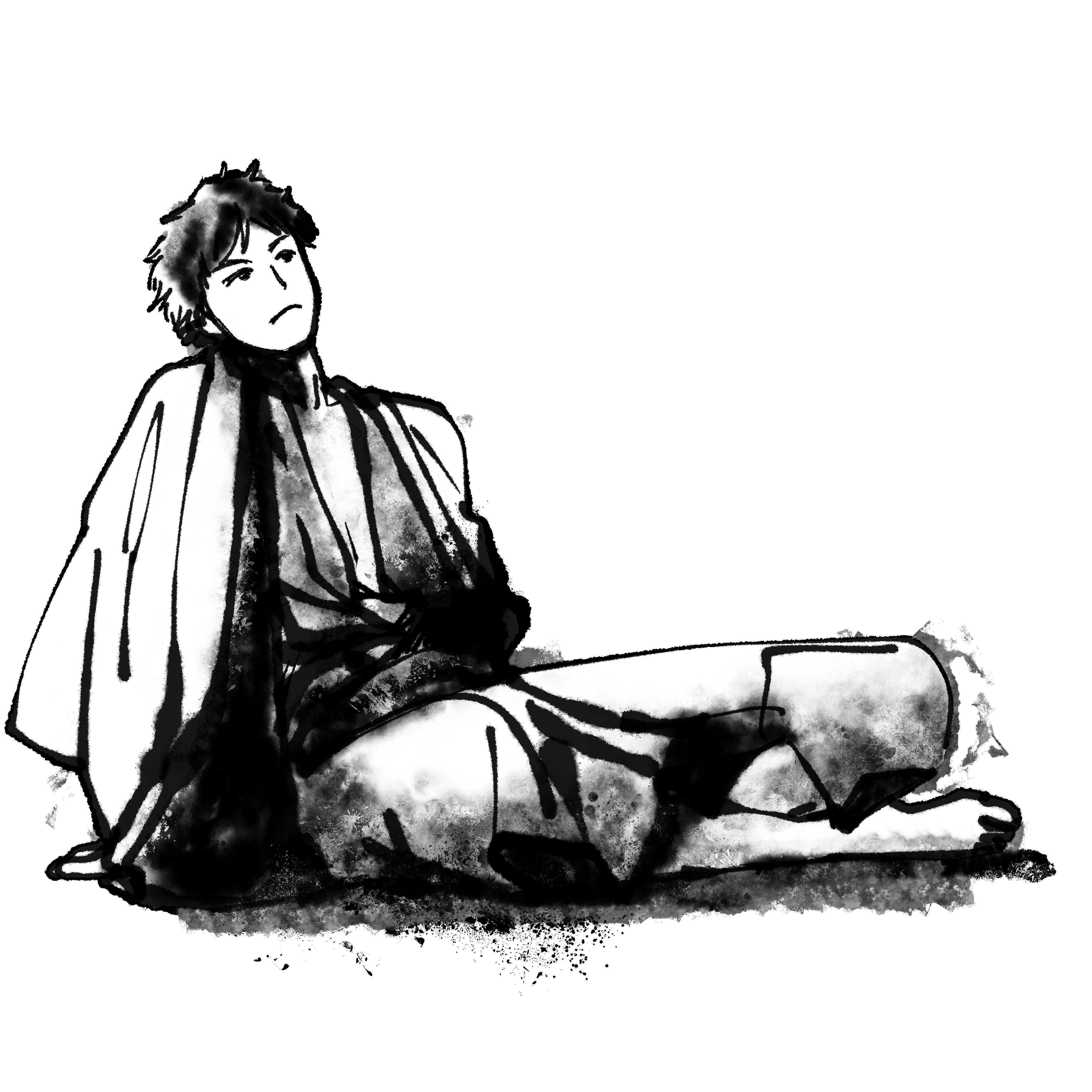 あぐらを崩して座る男性のイラスト Man sitting cross-legged  Illustration