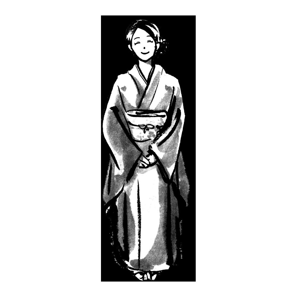 着物の立ち姿(女性)のイラスト Standing in kimono <Femele>  Illustration