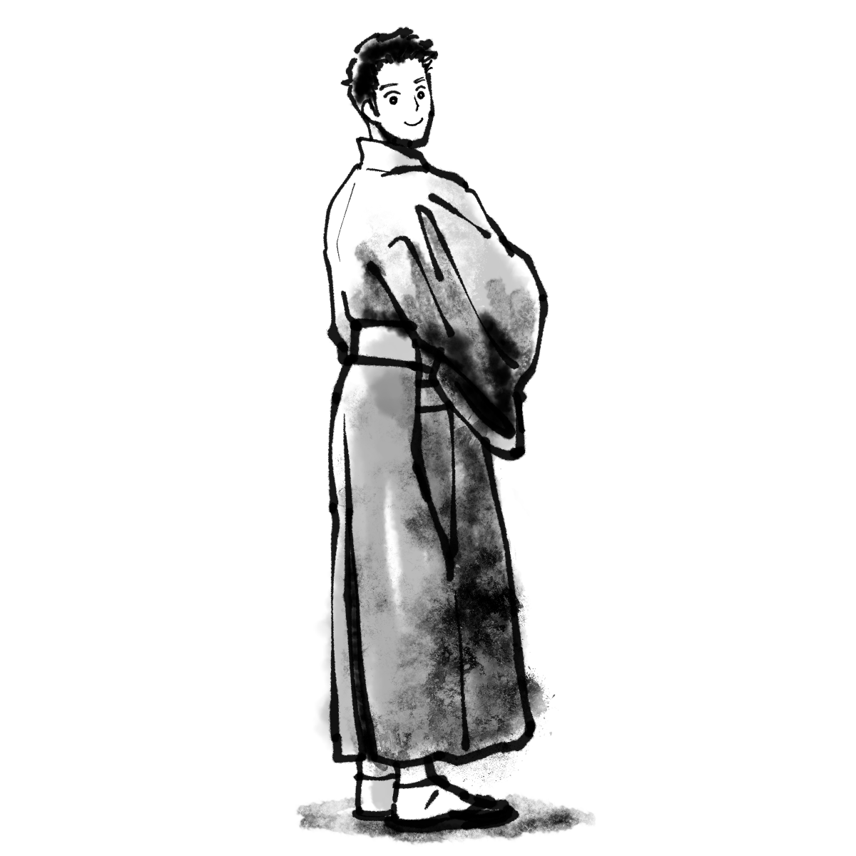 袴姿<男性>のイラスト Wears hakama<Male>  Illustration