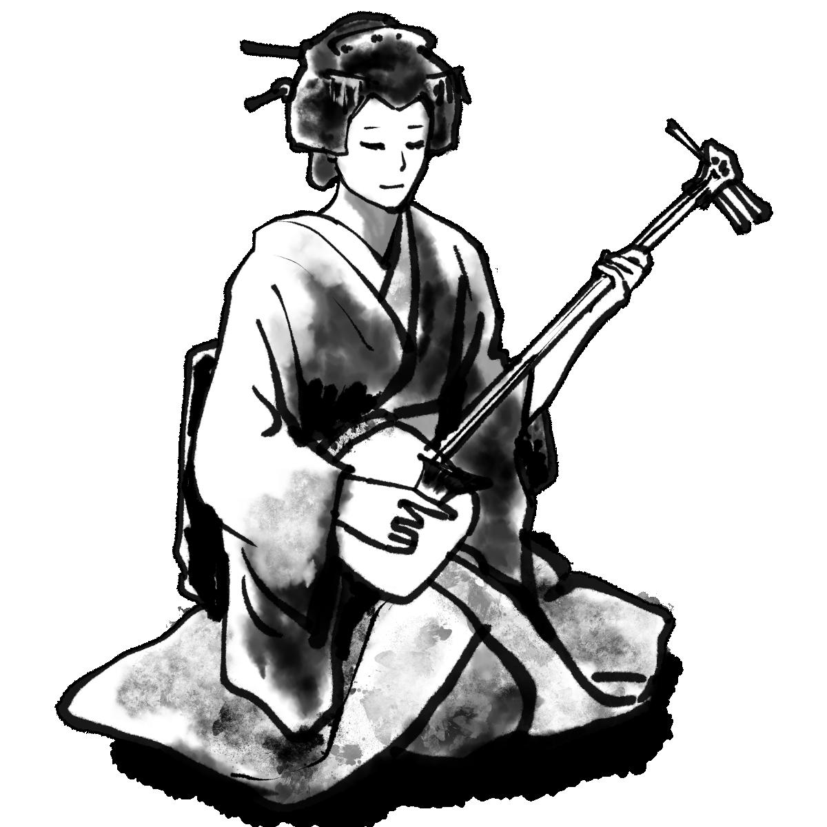 三味線を弾く芸者のイラスト Geisha plays shamisen  Illustration