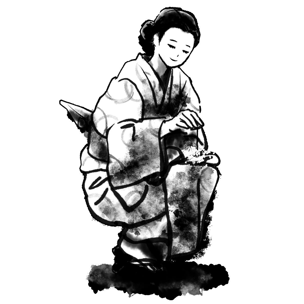線香花火をする女性の墨絵 Senko Hanabi 和風の無料墨絵イラスト 墨絵ですの