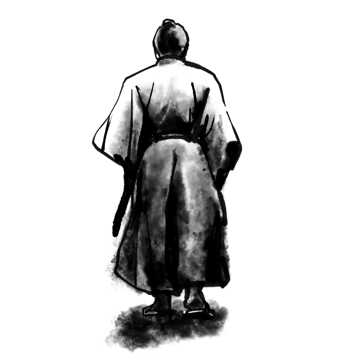 侍の背中のイラスト Back of samurai  Illustration