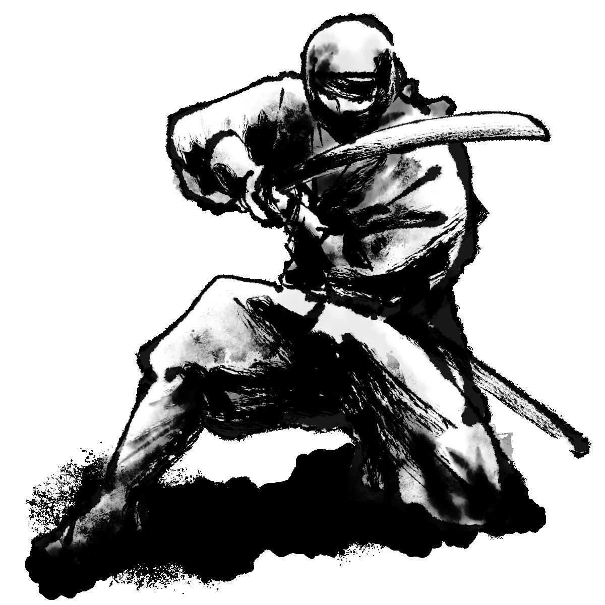 刀を構える忍者のイラスト Ninja who holds a sword  Illustration
